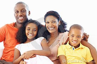 African-american-family-of-four-smiling
