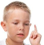 Boy with thinking finger